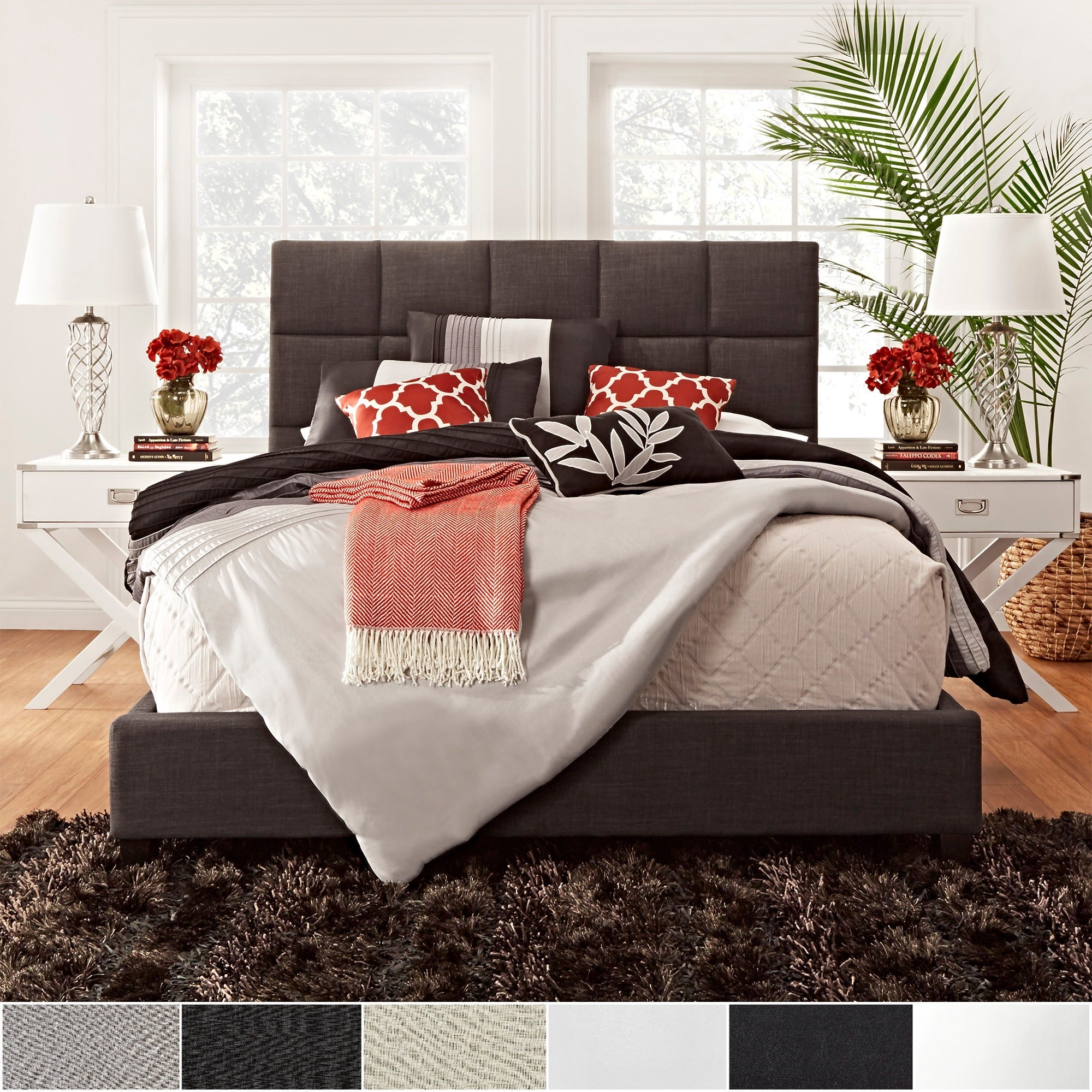 Fenton modern dark brown queen platform bed free shipping today - Fenton Column Upholstered King Size Bed By Inspire Q Modern Sale 702 94 Today 826 99