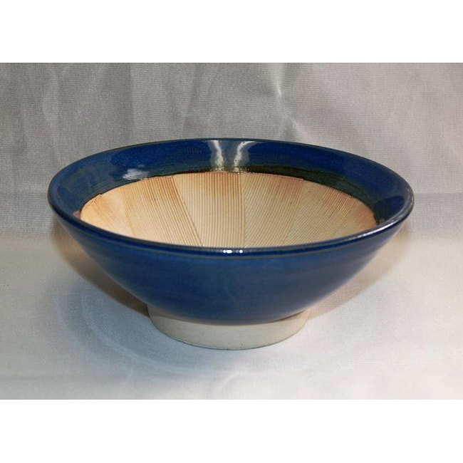 Blue 7-in Suribachi Food Grinder with Wooden Pestle