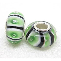 Murano Inspired Glass Cucumber Charm Beads (Set of 2)