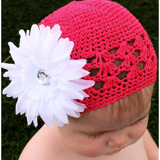 Crocheted Hot Pink Kufi Hat with White Flower