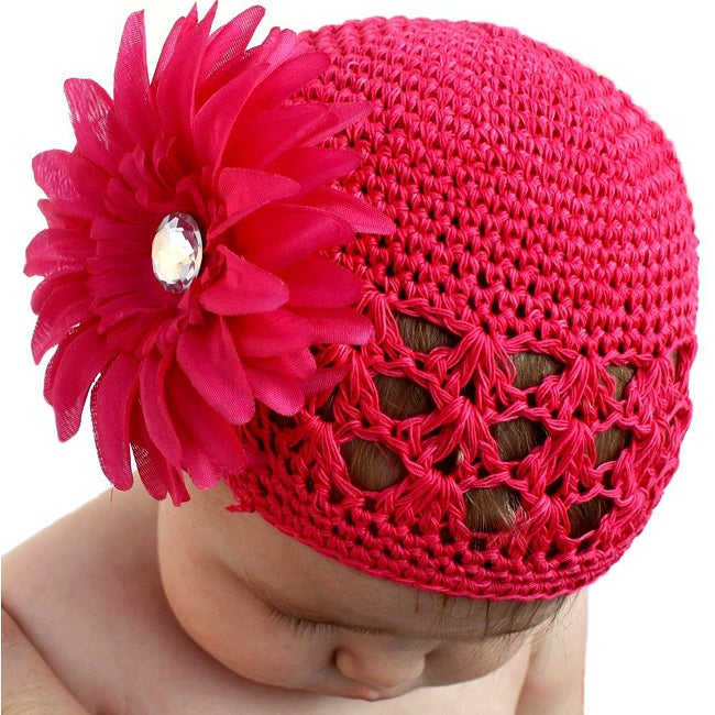 Shop Crocheted Hot Pink Kufi Hat With Hot Pink Flower Free