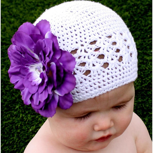 Crocheted White Kufi Hat with Unique Purple Flower