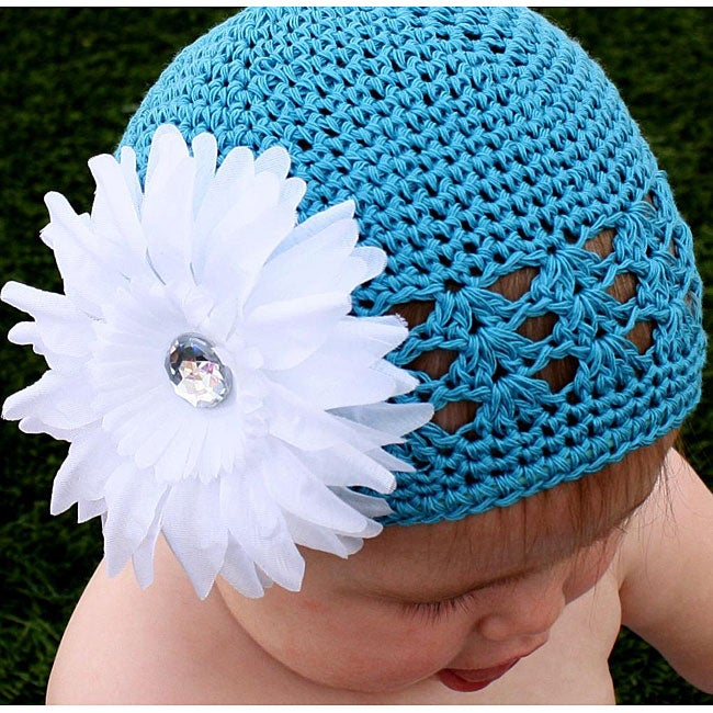 Crocheted Turquoise Kufi Hat with White Flower