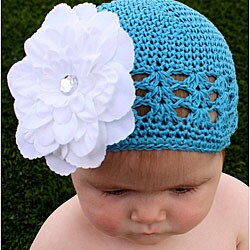 Crocheted Turquoise Kufi Hat with Unique White Flower - Thumbnail 0