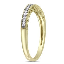 Miadora 14k Yellow Gold Diamond Accent Wedding Band - Thumbnail 1