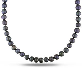 Miadora Black Cultured Freshwater Pearl Endless 36-inch Necklace (11-12 mm)