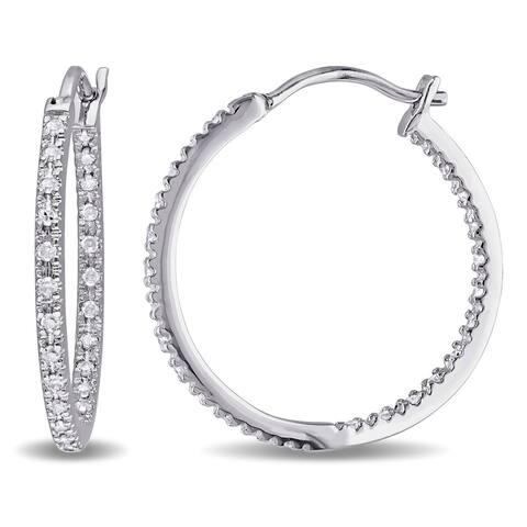 Miadora Sterling Silver 1/4ct TDW Diamond Hoop Earrings