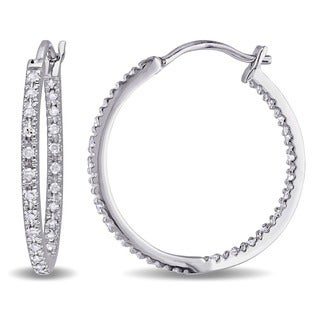 Miadora Sterling Silver 1/4ct TDW Diamond Hoop Earrings