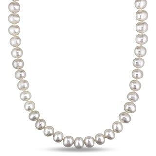 Miadora White Cultured Freshwater Pearl Endless 36-inch Necklace (8-9 mm)