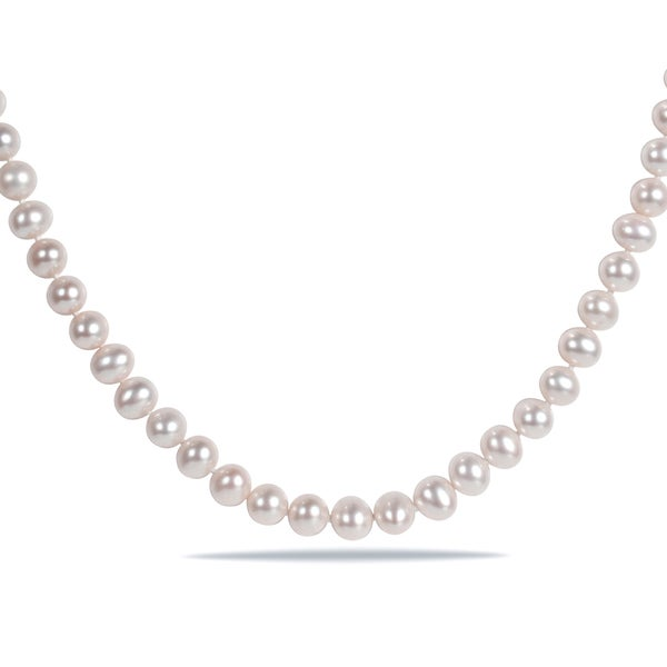69544edbe40c Shop Miadora White Cultured Freshwater Pearl Necklace (16-18 inch ...