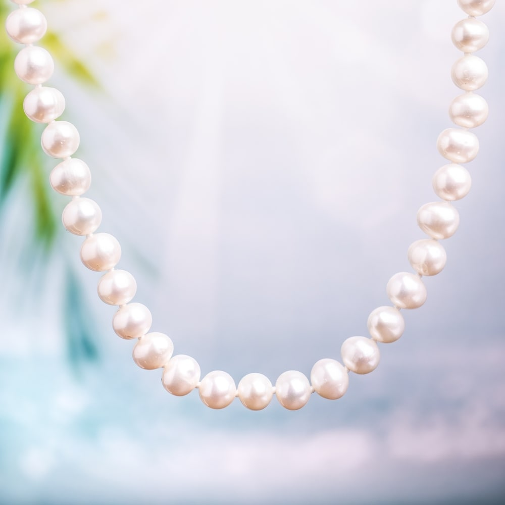 White Double Strand Cultured Freshwater Pearl Necklace  7mm 7.5mm  round 16-17 inch Necklace Bridal with Spring clasp