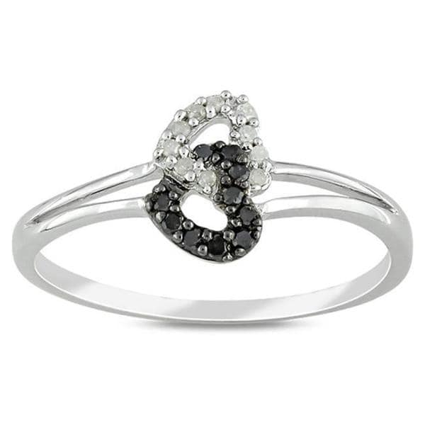 Sterling Silver 1/10ct TDW Black and White Diamond Ring