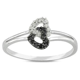 Sterling Silver 1/10ct TDW Black and White Diamond Ring (G-H, I3)
