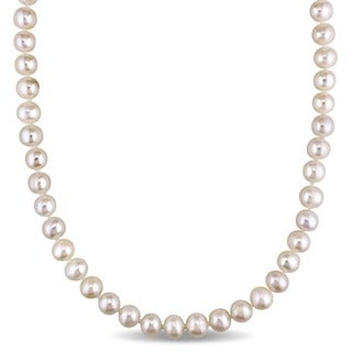 Miadora White Cultured Freshwater Pearl Endless 36-inch Necklace (7.5-8 mm)