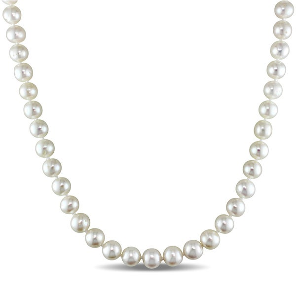 34821628d4ac Shop Miadora White 8-9mm Cultured Freshwater Pearl Necklace (16-24 ...
