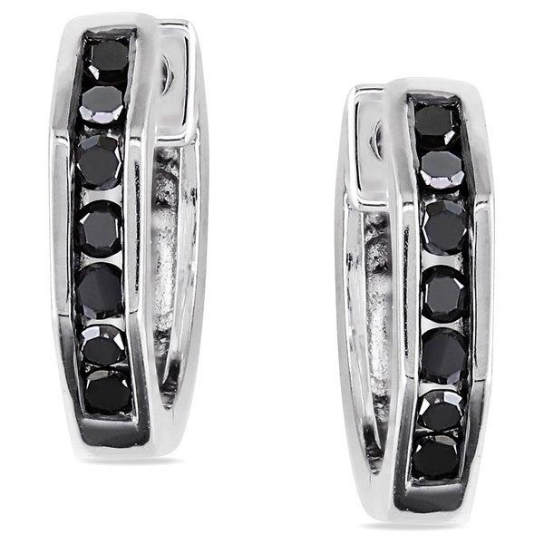 Miadora Sterling Silver 1/4ct TDW Black Diamond Hoop Earrings