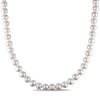 Miadora White 7-7.5mm Cultured Freshwater Pearl Necklace (16-24 inch)