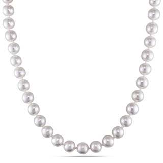Miadora White Cultured Akoya Pearl 18-inch Necklace (8-8.5 mm)