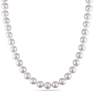 Miadora White Cultured Akoya Pearl 18-inch Necklace (8-8.5 mm)