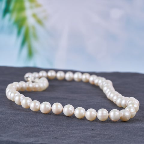 Miadora White Cultured Freshwater Pearl Necklace (7.5-8 mm)