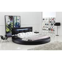 Oslo Round Queen Leatherette Bed with Headboard Lights