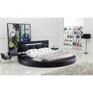 Oslo Round Queen Leatherette Bed with Headboard Lights (2 options available)