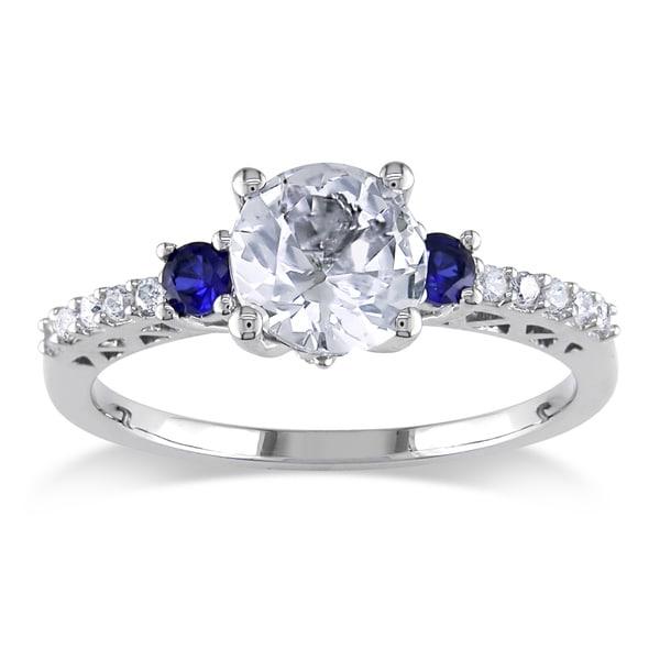 Miadora 10K Gold 1/10ct TDW Diamond and Created Sapphire Ring