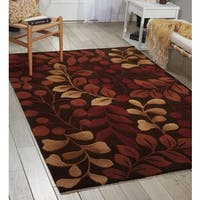Nourison Hand-tufted Contours Botanical Chocolate Rug - 7'3 x 9'3
