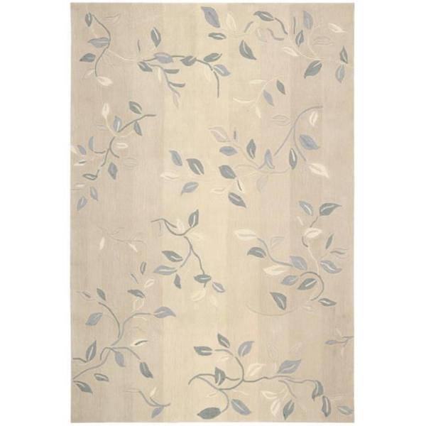 Nourison Hand Tufted Contours Cream Rug With Leaf Pattern