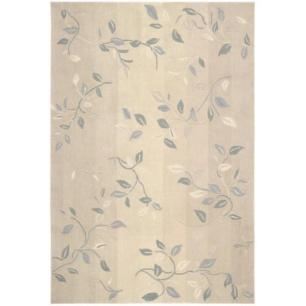 Nourison Hand-Tufted Contours Cream Rug with Leaf Pattern (7'3 x 9'3)