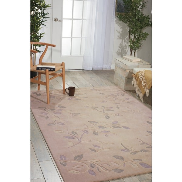 Nourison Hand-Tufted Contours Cream Rug with Leaf Pattern (7'3 x 9'3) - 7'3 x 9'3
