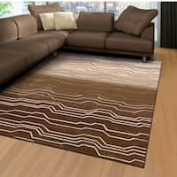 Transitional Nourison Hand-Tufted Contours Natural Rug (3'6 x 5'6) - 3'6 x 5'6