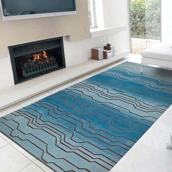 Nourison Hand-tufted Contours Azure Rug (8' x 10'6)