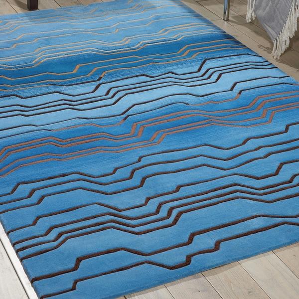 Nourison Hand-tufted Contours Azure Rug (5' x 7'6) - 5' x 7'6