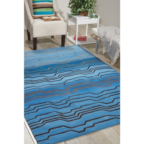 Nourison Hand-tufted Contours Azure Rug (3'6 x 5'6)