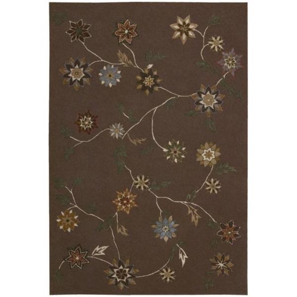 "Nourison Floral-Pattern Hand-Tufted Contours Brown Rug (7'3"" x 9'3"") - 7'3 x 9'3"