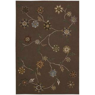 "Nourison Floral-Pattern Hand-Tufted Contours Brown Rug (7'3"" x 9'3"")"