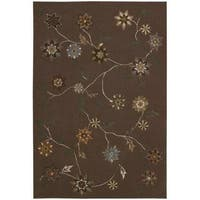 "Nourison Floral-Pattern Hand-Tufted Contours Brown Rug (7'3"" x 9'3"")"
