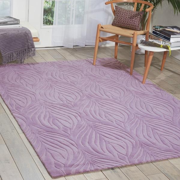 Nourison Hand-tufted Contours Lavender Rug (3'6 x 5'6)