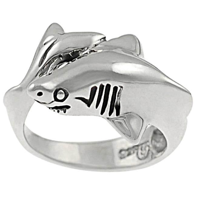 Journee Collection Sterling Silver Shark Ring