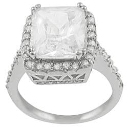 Journee Collection Sterling Emerald &Round CZ Bridal Engagement Ring
