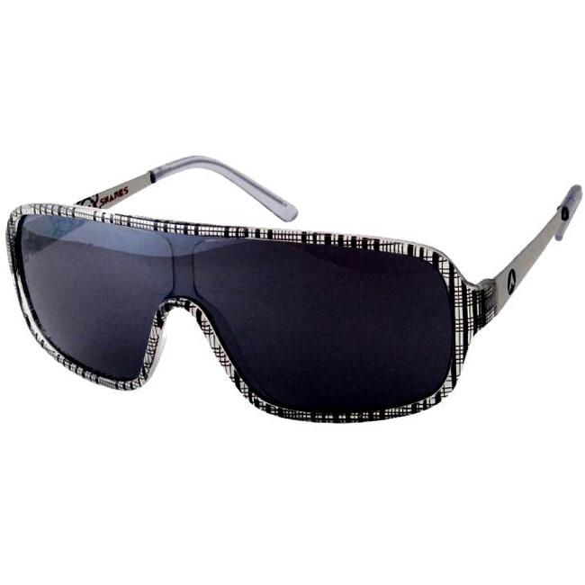 Airwalk Men's White Plaid Culprit Oversized Frame Sunglasses