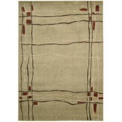 Nourison Monaco Beige Abstract Rug (5'3 x 7'5) - Thumbnail 1