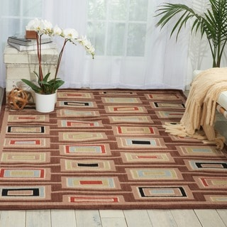 Nourison Monaco Brown Abstract Rug (5'3 x 7'5)