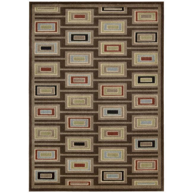 Nourison Monaco Brown Abstract Rug (7'9 x 10'10)