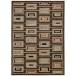 Nourison Monaco Brown Abstract Rug (7'9 x 10'10) - Thumbnail 1