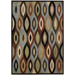 Nourison Monaco Brown Geometric Area Rug (5'3 x 7'5)