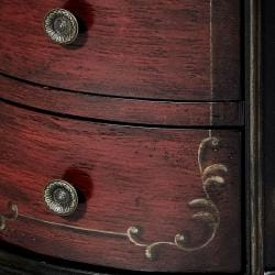 Hand-painted Black/ Red Round Accent Chest - Thumbnail 1