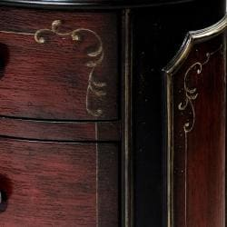 Hand-painted Black/ Red Round Accent Chest - Thumbnail 2