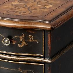 Hand-Painted Black Wooden Accent Chest - Thumbnail 1